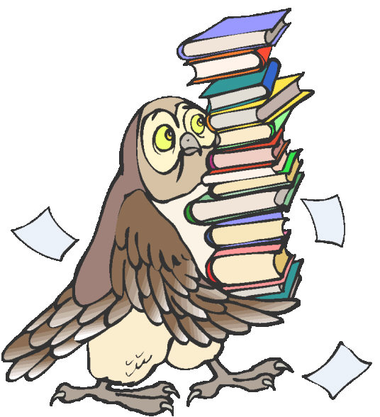 owl carrying books